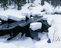 Snow along river and black water reflections Stock Photography