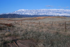 Snow along San Gorgonio Range 103. Contrast of field and snow covered mountains near Beaumont, CA Royalty Free Stock Photos