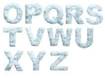 Snow alphabet. Letter from snow style alphabet. Isolated on white background. With clipping path Stock Photos