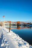 Snow and American Flag Royalty Free Stock Photos