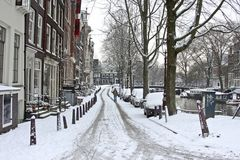 Snow in Amsterdam the Netherlands Stock Photos