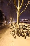Snow in Amsterdam the Netherlands Stock Photo