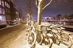 Snow in Amsterdam the Netherlands Royalty Free Stock Photos