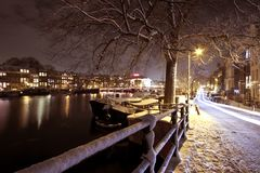 Snow in Amsterdam the Netherlands Royalty Free Stock Image