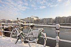 Snow in Amsterdam the Netherlands Stock Photography