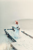 Snow And Little Skater Royalty Free Stock Images