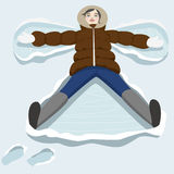 Snow angel. Cute christmas girl lying in snow and making angel. Vector cartoon illustration Stock Photography