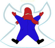 Snow Angel Kid. Kid in red hat, mittens and scarf, blue snowsuit and black boots making snow angel vector illustration