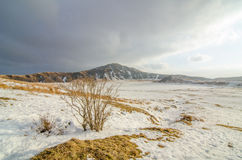 Mount Aso in Japan. The Mount Aso and snowy landscape in Kumamoto, Japan Royalty Free Stock Photography