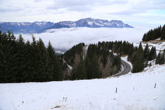 Snow in the Austrian Alps with Winding Road royalty free stock images