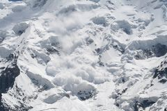 Snow avalanche. Caucasus mountain, snow top, bezengi Stock Photos