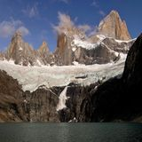 Snow avalanche below Monte Fitz Roy, Argentina. Snow avalanche under Monte Fitz Roy peak, National Park Los Glaciares, Patagonia, Argentina, South America Royalty Free Stock Photography
