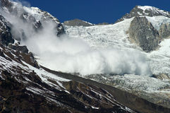 Snow avalanche in mountains Royalty Free Stock Image