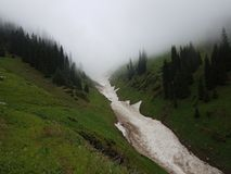Snow from the avalanches in the gorge. View of a mountain river in the gorge with snow from the avalanches royalty free stock photos