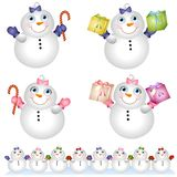 Snow Babies Snowmen 2. An illustration featuring adorable 'baby' snowmen - a boy and a girl, sitting in the snow in a row, or isolated holding candy canes and stock illustration