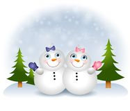 Snow Babies Snowmen. An illustration featuring adorable 'baby' snowmen - a boy and a girl, sitting in the snow Stock Photography