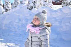 Snow, Baby, Girl, White, Happy Royalty Free Stock Images