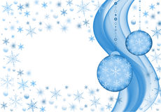 Snow background. Nice snow design in white and  blue with two decoration balls Stock Image