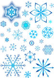 Snow background. Winter background with lots of different snowflakes. There are no similar snowflakes stock illustration