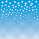 Snow. Christmas. Christmas Snow falling. Snowflakes falling on blue background with transparent effect. Winter Holiday background. Snowfall Transparent vector Royalty Free Stock Photo