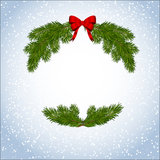 Snow background with frame fur-tree Royalty Free Stock Images