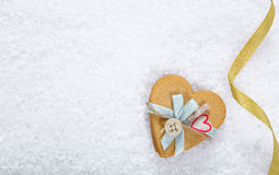 Snow background with heart Stock Photo