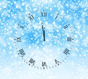 Snow background with New Year's clock face Royalty Free Stock Photos