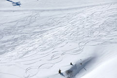 Snow background with ski and snowboard tracks Stock Image