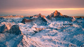 Snow in the Badlands Royalty Free Stock Images
