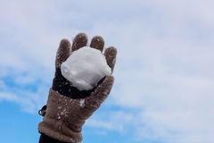 Snow ball. In a child's hand Royalty Free Stock Photo