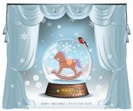 Snow Ball. Elegant vector winter Christmas background with curtains and glass snow ball with toy horse inside stock illustration