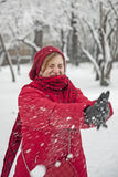 Snow ball fight. People fighting Stock Image