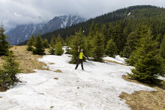 Snow ball fight. Young man in a snowball fight on a mountain landscape Stock Images
