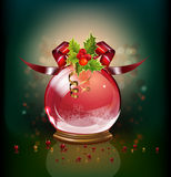 Snow ball with  holly Stock Images
