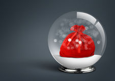 Snow ball with santa bag inside, on dark background with copy sp Royalty Free Stock Images