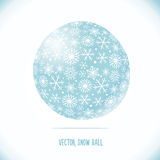 Snow ball. With snowflakes pattern. Vector sign stock illustration