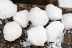Snow balls ready for snowball fight
