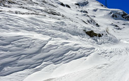 Snow bank at the Great St Bernard Pass, Switzerland Royalty Free Stock Images