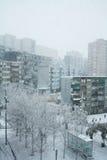 Snow in Barcelona Royalty Free Stock Photos