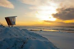 Snow Beach at Sunrise Stock Photo