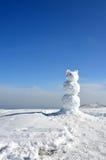 Snow bear and blue sky. Snowman,snow bear with clear blue sky Royalty Free Stock Image
