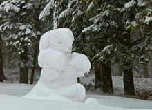 Snow bear near the forest. Snow baby bear near the forest wating to play with children Royalty Free Stock Images