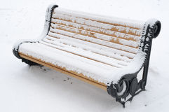 Snow bench Stock Photography