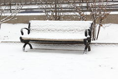 The snow bench Stock Images