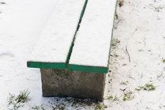 Snow on bench Royalty Free Stock Photo