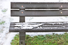 Snow on bench Stock Image