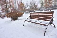 Snow bench in the winter park, rest in the park royalty free stock photo