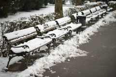 Snow on Benches Royalty Free Stock Photography