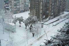 Snow in Barcelona. The big snowfall in Catalunya in 2009 Stock Image