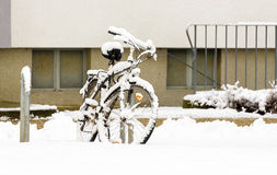 Snow and Bike Stock Photo